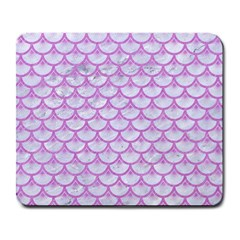 Scales3 White Marble & Purple Colored Pencil (r) Large Mousepads