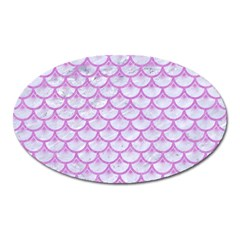 Scales3 White Marble & Purple Colored Pencil (r) Oval Magnet