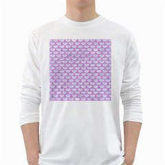 Scales3 White Marble & Purple Colored Pencil (r) White Long Sleeve T Shirts