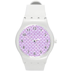 Scales3 White Marble & Purple Colored Pencil (r) Round Plastic Sport Watch (m)