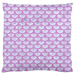 Scales3 White Marble & Purple Colored Pencil (r) Large Cushion Case (one Side)