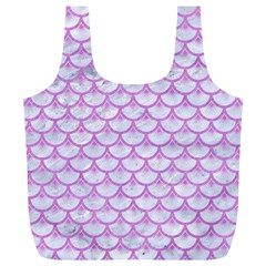 Scales3 White Marble & Purple Colored Pencil (r) Full Print Recycle Bags (l)