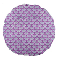 Scales3 White Marble & Purple Colored Pencil (r) Large 18  Premium Flano Round Cushions
