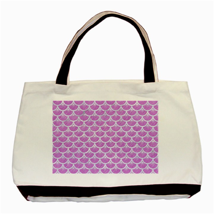 SCALES3 WHITE MARBLE & PURPLE COLORED PENCIL Basic Tote Bag