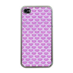 Scales3 White Marble & Purple Colored Pencil Apple Iphone 4 Case (clear)