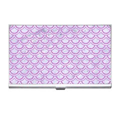 Scales2 White Marble & Purple Colored Pencil (r) Business Card Holders
