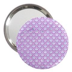 Scales2 White Marble & Purple Colored Pencil (r) 3  Handbag Mirrors