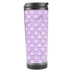 Scales2 White Marble & Purple Colored Pencil (r) Travel Tumbler