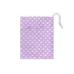 Scales2 White Marble & Purple Colored Pencil (r) Drawstring Pouches (small)