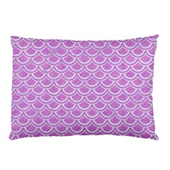 Scales2 White Marble & Purple Colored Pencil Pillow Case (two Sides)