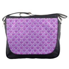 Scales2 White Marble & Purple Colored Pencil Messenger Bags