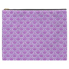 Scales2 White Marble & Purple Colored Pencil Cosmetic Bag (xxxl)