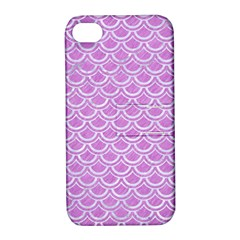 Scales2 White Marble & Purple Colored Pencil Apple Iphone 4/4s Hardshell Case With Stand