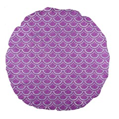 Scales2 White Marble & Purple Colored Pencil Large 18  Premium Flano Round Cushions by trendistuff