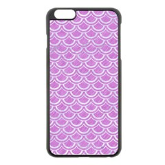 Scales2 White Marble & Purple Colored Pencil Apple Iphone 6 Plus/6s Plus Black Enamel Case
