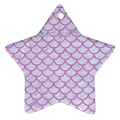 Scales1 White Marble & Purple Colored Pencil (r) Ornament (star)