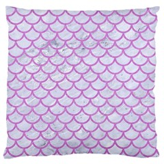 Scales1 White Marble & Purple Colored Pencil (r) Large Cushion Case (one Side)
