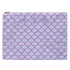 Scales1 White Marble & Purple Colored Pencil (r) Cosmetic Bag (xxl)