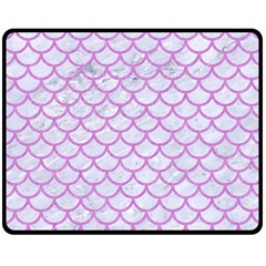 Scales1 White Marble & Purple Colored Pencil (r) Double Sided Fleece Blanket (medium)