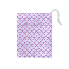 Scales1 White Marble & Purple Colored Pencil (r) Drawstring Pouches (medium)