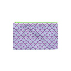 Scales1 White Marble & Purple Colored Pencil (r) Cosmetic Bag (xs) by trendistuff