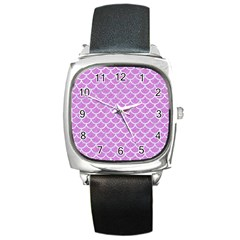 Scales1 White Marble & Purple Colored Pencil Square Metal Watch