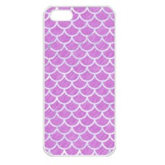 Scales1 White Marble & Purple Colored Pencil Apple Iphone 5 Seamless Case (white)