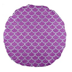 Scales1 White Marble & Purple Colored Pencil Large 18  Premium Round Cushions