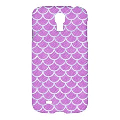 Scales1 White Marble & Purple Colored Pencil Samsung Galaxy S4 I9500/i9505 Hardshell Case
