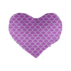Scales1 White Marble & Purple Colored Pencil Standard 16  Premium Flano Heart Shape Cushions