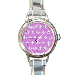 Royal1 White Marble & Purple Colored Pencil (r) Round Italian Charm Watch