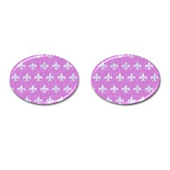 Royal1 White Marble & Purple Colored Pencil (r) Cufflinks (oval)