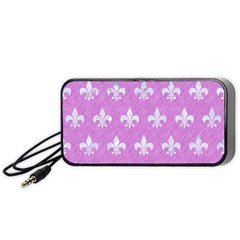 Royal1 White Marble & Purple Colored Pencil (r) Portable Speaker