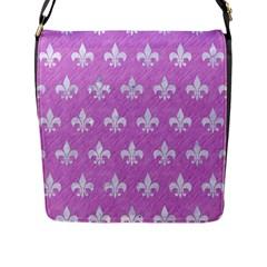 Royal1 White Marble & Purple Colored Pencil (r) Flap Messenger Bag (l)