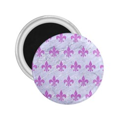 Royal1 White Marble & Purple Colored Pencil 2 25  Magnets