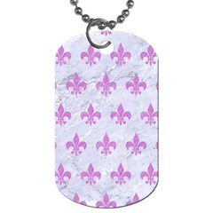 Royal1 White Marble & Purple Colored Pencil Dog Tag (two Sides)
