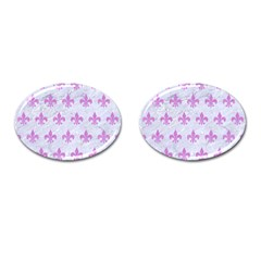 Royal1 White Marble & Purple Colored Pencil Cufflinks (oval)