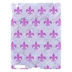 Royal1 White Marble & Purple Colored Pencil Apple Ipad 3/4 Hardshell Case