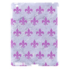 Royal1 White Marble & Purple Colored Pencil Apple Ipad 3/4 Hardshell Case (compatible With Smart Cover)