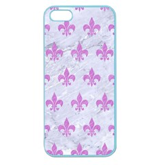 Royal1 White Marble & Purple Colored Pencil Apple Seamless Iphone 5 Case (color)