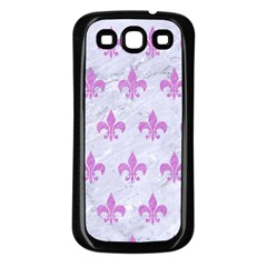Royal1 White Marble & Purple Colored Pencil Samsung Galaxy S3 Back Case (black)