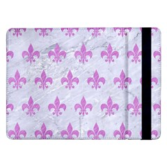 Royal1 White Marble & Purple Colored Pencil Samsung Galaxy Tab Pro 12 2  Flip Case