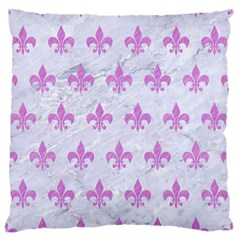 Royal1 White Marble & Purple Colored Pencil Standard Flano Cushion Case (two Sides)