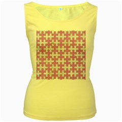 Puzzle1 White Marble & Purple Colored Pencil Women s Yellow Tank Top
