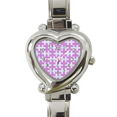 Puzzle1 White Marble & Purple Colored Pencil Heart Italian Charm Watch