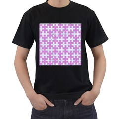 Puzzle1 White Marble & Purple Colored Pencil Men s T Shirt (black) (two Sided)