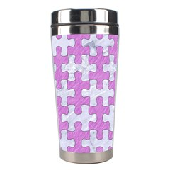 Puzzle1 White Marble & Purple Colored Pencil Stainless Steel Travel Tumblers
