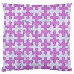 Puzzle1 White Marble & Purple Colored Pencil Large Flano Cushion Case (one Side)