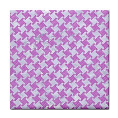Houndstooth2 White Marble & Purple Colored Pencil Tile Coasters