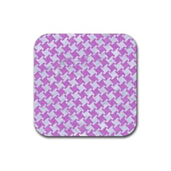 Houndstooth2 White Marble & Purple Colored Pencil Rubber Coaster (square)
